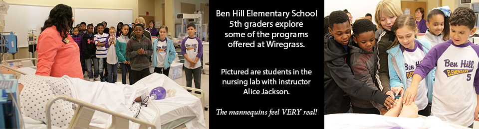 Fifth graders explore nursing lab.